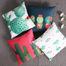 Cactus Red Flower Soft Cushion Cover Watercolor Tropical Palm Leaf Pillow Covers 40X40cm Bedroom Sofa Decoration