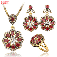 High Quality New Product 3 pcs/set Wedding Jewelry Sets Earrings Ring Necklace For Women Unique Bohemia Antique Gold Jewelry Set