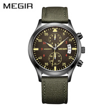 MEGIR Original Men Watches Fashion Canvas Military Watch for Gentle Men Male Quartz Wristwatches Relogio Masculino Reloj Hombre(China)