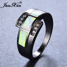 JUNXIN White Fire Opal Ring With AAA Zircon Vintage Black Gold Filled Jewelry Wedding Rings For Men And Women Christmas Day Gift