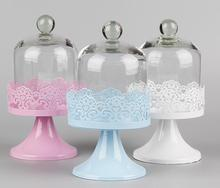 Small Metal Lace Dessert Stand with Glass Dome Cover for Wedding or Events Table Setting Decorations
