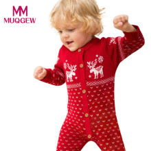 Unisex Fashion Baby Boys Girls Overall Long Sleeve Romper Jumpsuit Christmas Deer Pattern Winter Knitted Warm Jumpsuits for Kid(China)