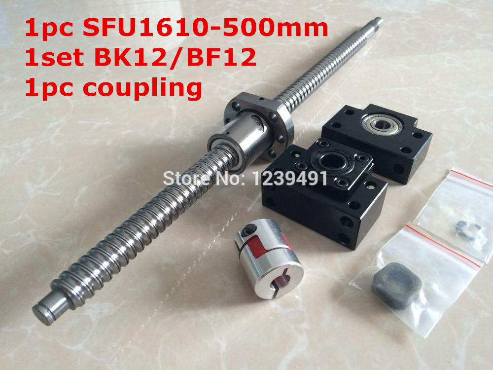 ballscrew 1610 assembly  1set 1610 - 500mm + METAL DEFLECTOR  Ballnut + BK12 BF12 support + shaft coupling<br>