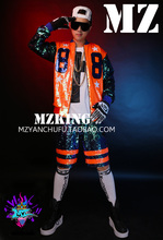 S-5XL ! Men's new DJ singer 2015 Zhilong GD colorful orange green Sequin stitching 88 hip-hop baseball uniform costume clothing(China)