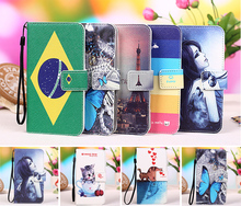 for Micromax A350 case, Cartoon Painting Case PU Leather Flip cover Case For Micromax Canvas Knight A350, Lanyard Gift +Tracking
