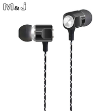 M&J-56 Drive-by-wire Metal In ear earphone Headset With Switch Song and Mic For Ipad Samsung IPhone Mp3 Music High Bass Quality(China)