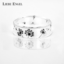 LIEBE ENGEL Dandelion Resin Rings For Women and Men Vintage Jewelry Ink Painting Scenery Inside Epoxy Punk Finger Ring 2017(China)
