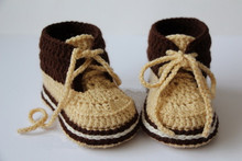 Crochet Baby booties,Handmade Baby shoes,boots,Sneakers,golden sand,Cream/brown,Photo prop, baby shower gift Size: 9cm,10cm,11cm