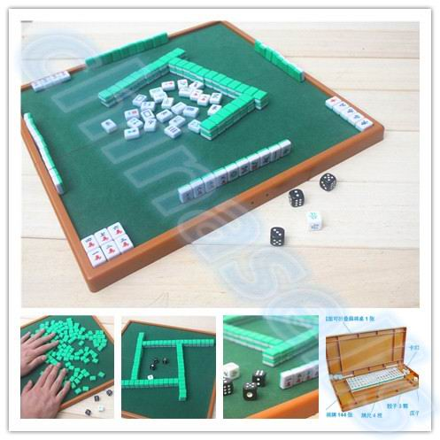 small travel mahjong set mini mahjong portable mahjiang tiles with table pieces traditional chinese family board