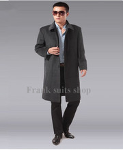 Custom made 2017 Fall grey winter male design woolen long coat men cashmere long overcoat/plus size coat(China)