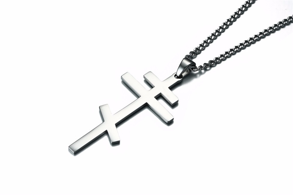 Authentic Russian Orthodox Cross Pendant Necklace for Men SILVER 16
