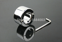Metal Ball Stretchers Male Chastity Devices Scrotum Pendant Testis Weight Plus Lock Ring Large A033
