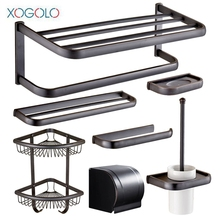 Xogolo Copper Nickel Brushed Wall Mounted Black Bath Hardware Sets Toilet Paper Holder Shelf Towel Ring Bathroom Accessories(China)
