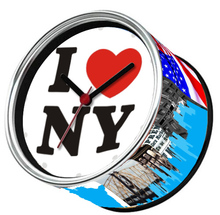 Free Shipping To I LOVE NY 2pcs/lot Packed USA New York City Kitchen Fridge Magnets Aluminum Can Wall Clocks,Metal Tin Clocks