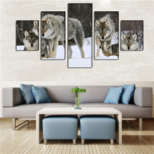 Hot Sale 5pcs Modern Canvas Painting Wall Art The Picture Lone Timber Wolf In Snow Storm Forest Animal Artwork Home Wall Decor(China)