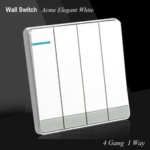 Large Panel Wall Switch acme elegant white Simple Fashion Decoration Switch 4 Gang 1 Way Single Control Switch 86mm*86mm(China)
