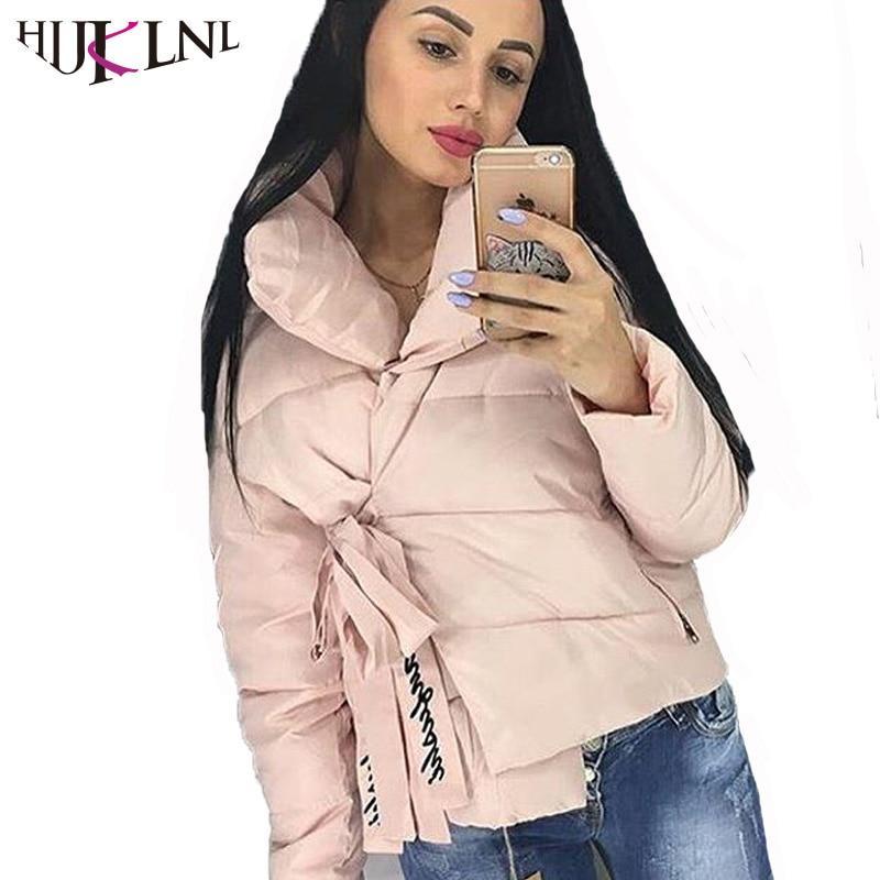 HIJKLNL Fashion Winter Jacket Women 2017 Letter Print Thick Parka Coat Ladies Retro Bandage Lace Up Cotton Padded Parka NA475Îäåæäà è àêñåññóàðû<br><br>