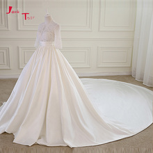 Buy Jark Tozr Three Quarter Sleeve Pearls Pleat Waist Beading Lace Satin Chapel Train Gorgeous Wedding Dresses 2018 Matrimonio for $240.51 in AliExpress store