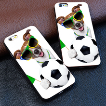 International Soccer League world cup brazil 2014 dog ball for iPhone 4 5 5S 6 S 7 puls for Samsung S3 S4 S5 S6 S7 Edge(China)