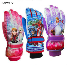 Fashion 2016 New Arrival 6-14 Years Children gloves mittens Warm Ski Snow Snowboard Gloves Winter Warm Gloves Cartoon Designs