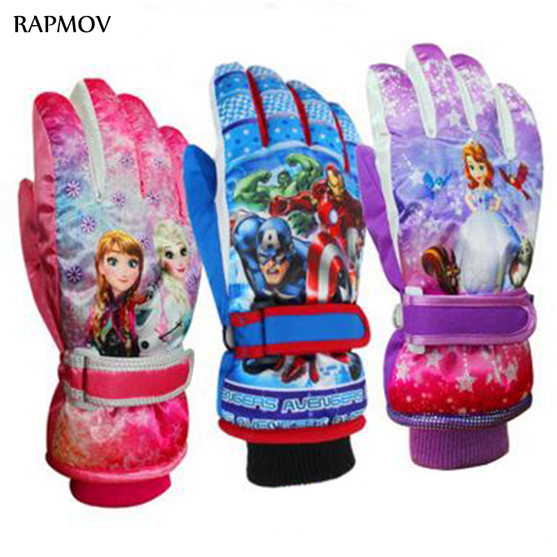 Image Fashion 2016 New Arrival 6 14 Years Children gloves mittens Warm Ski Snow Snowboard Gloves Winter Warm Gloves Cartoon Designs