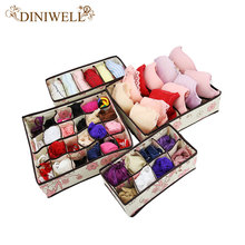 DINIWELL New Printed Nonwoven Storage Container Drawer Divider Lidded Closet Box For Ties Socks Bra Underwear Organizer(China)