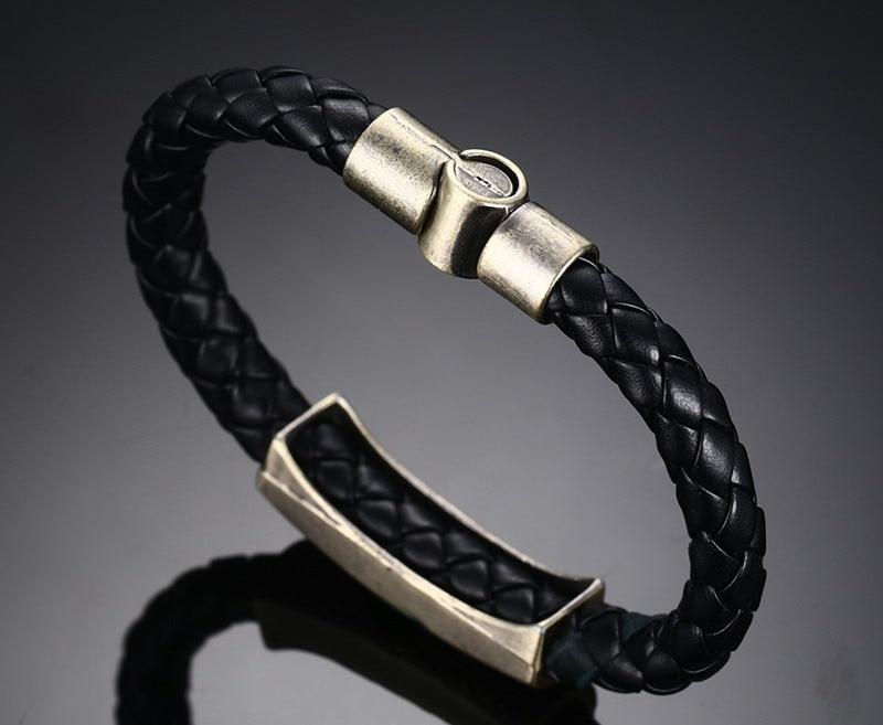 Meaeguet Rock Street Style Vintage Heart I Love U Charm Bracelet & Bangle For Women Men Braid Genuine Leather Rope Chain Jewelry (19)