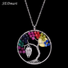 SEDmart Colorful Beaded Owl Charm Tree Of Life Pendant Necklace Chakra Shell Long Maxi Sweater Necklace Women Christmas Gift