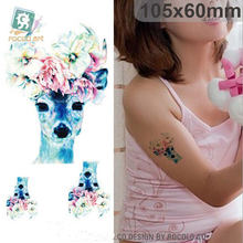 2017 Sale Real Ac-097 Waterproof Temporary Tattoo Sticker Flowers On Dear Head Fake Stickers Transfer Sex Beauty Products(China)