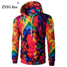 2017 new printing color hooded men's Urban Fashion hooded jacket brand clothing personality fashion hooded leisure hooded coat(China)