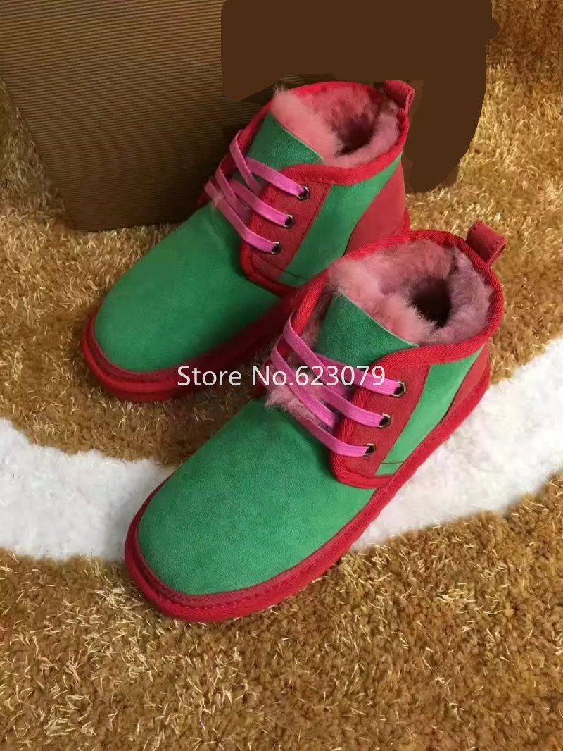 winter Sheep skin wool Women slip on snow boots green red mixed color ankle winter boots cozy Ladies fur Warm Australia boots<br><br>Aliexpress