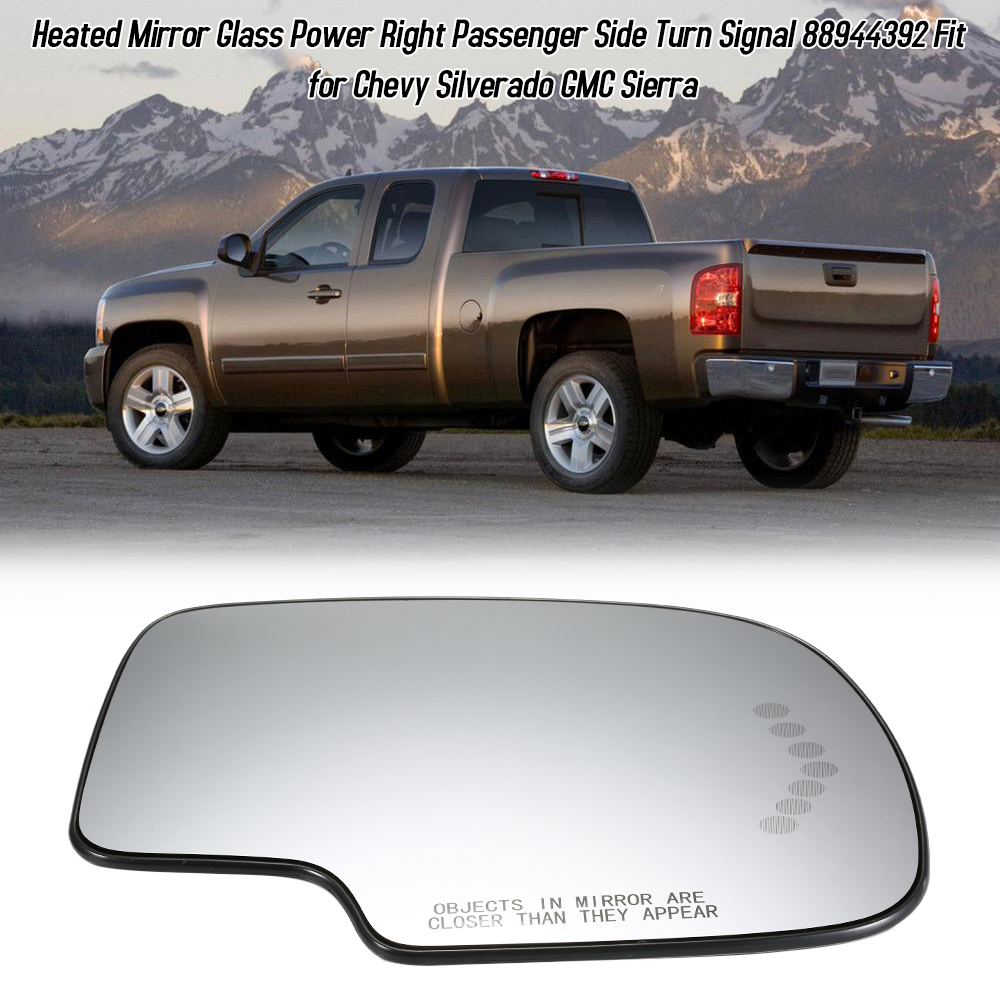 Power Heated Fits 03-07 Chevy Silverado GMC Sierra Driver Side Mirror Glass Left
