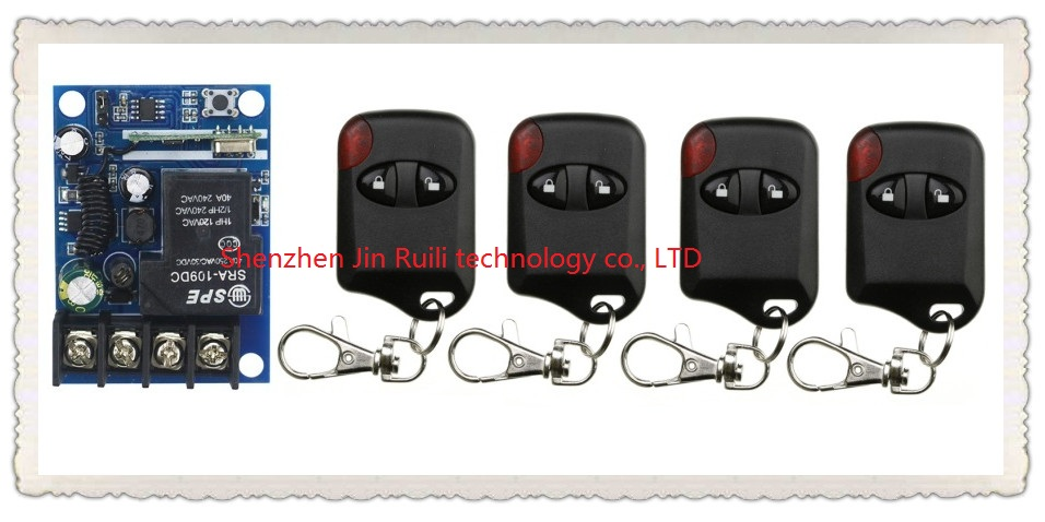 New DC12--48V 12V 24V 36V 48V 1CH 10A RF Wireless Remote Control Switch System teleswitch 4* cat eye Transmitter + 1 *Receiver<br><br>Aliexpress