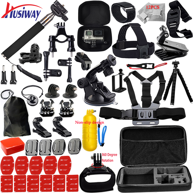 Husiway support Gopro Accessories set for go pro hero 5 4 3 kit mount for SOOCOO / M20 / xiaomi yi 4K / eken h8r tripod 13N