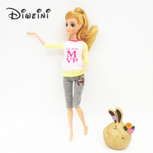 Barbie Dolls Yoga clothes Beautiful Sorts Handmade Fashion daily clothes For barbie doll accessories Best Girl's Gift Kid's Toy(China)