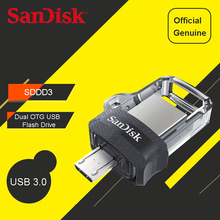 SanDisk Ultra Dual OTG USB Flash Drives 64GB 32GB 16gb 130M/S mini Pen Drives 3.0 PenDrives 32G support 0fficial Verification(China)