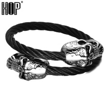 HIP Men Biker Double Skull Heads Cuff Bracelet Bangle Black Color Stainless Steel Adjustable Wire Bangle for Men Jewelry(China)