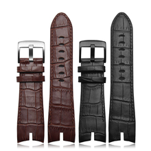 2016 NEW Arrivals 26*22mm Black and Brown Genuine leather strap watch strap crocodile pattern For Roger Dubuis EXCALIBUR series(China)
