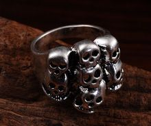 Vintage Look Retro Craft Tibet Alloy Silver Plated Design skull Rings for man lady