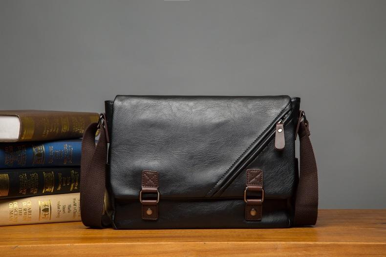 MJ Men\`s Bags Vintage PU Leather Male Messenger Bag High Quality Leather Crossbody Flap Bag Versatile Shoulder Handbag for Men (10)