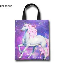 MEETSELF 3D Print Unicorn Colorful Logo Shopping Bag Large Big Shopper Resuable Shopping Grocery Personality creative Bag(China)