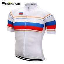 Weimostar Russian Pro Bike Team Racing Sport Cycling Jersey Flag Short Sleeve Cycling Clothing MTB Bike Jersey Bicycle Clothes(China)