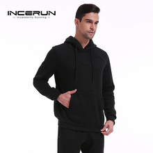 INCERUN Autumn Winter Men's Fleece Lined Hoodies Hooded Sweats Pullover Jumper Men Sportswear Sporting Male Tracksuit Sweatshirt(China)