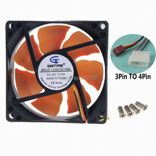 2PCS Gdstime PC Computer Chassis Case 8CM DC 12V Silent CPU Cooling Fan 80mm 25mm(China)