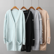 2017 Autumn New Pattern Suit-dress Korean Fashion Bind Rope Pocket Long Fund Easy Knitting Cardigan Sweater Loose Coat A1910(China)