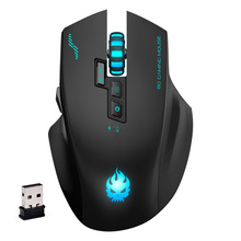 Built-in Rechargeable Battery Wireless 3 Color Lamp Skull Logo Mouse Mute Silent Gaming Mouse with Charging Cable for Game(China)