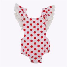 Adorable Baby Rompers Sleeveless Infant Baby Girl Lace Romper Summer Flying Polka Dots Jumpsuit Kids Baby Jumper Girls Sunsuits