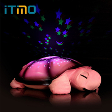 Led Night Light Toys for Baby Children Gift Cute Design 4 Colors Moon and Stars Projector Light With 4 Light Music Turtle Lamp(China)