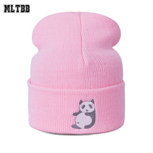 MLTBB 2017 New Fashion Winter Hat For Women Cartoon Panda Pattern Knitted Cap Women Men Beanie Warm Cotton Hat Skullies&Beanies(China)