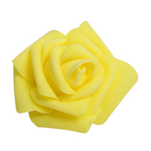 100PCS Foam Rose Flower Bud Wedding Party Decorations Artificial Flower Diy Craft Yellow(China)